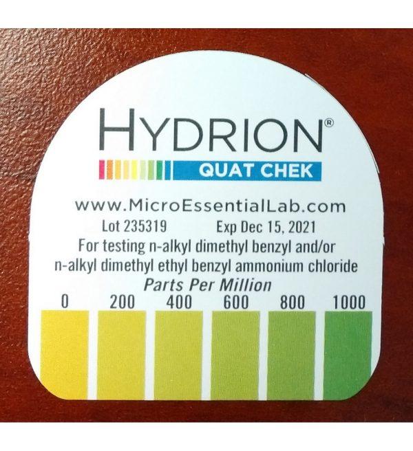 Hydrion QC-1001 High-Range Quat Test Strips (front label) – for website