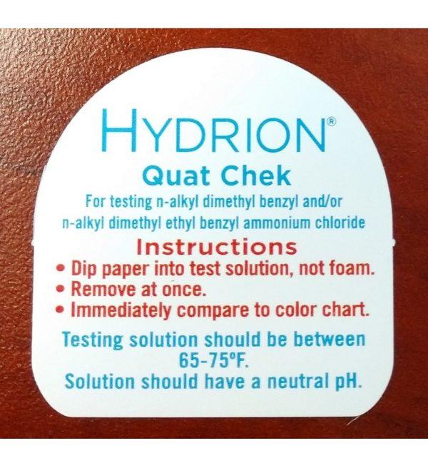 Hydrion QC-1001 High-Range Quat Test Strips (back label) – for website
